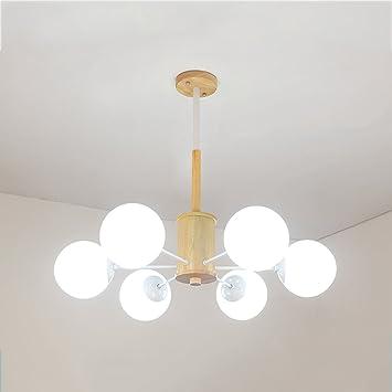 XXW Lámpara de Techo de Madera Maciza Simple 6 Lámparas de ...