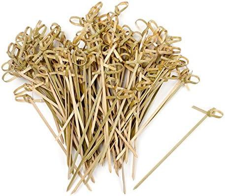 Vancool 4 Inch Bambus Knoten Cocktail Spieße Knotted Spieße, 200 Stück, Twisted End