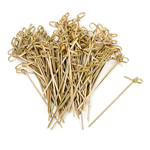 Vancool 200 Bamboo Knot Skewers, 4 Inch Knotted Skewers. Twisted Ends Bamboo Skewers Cocktail Picks.