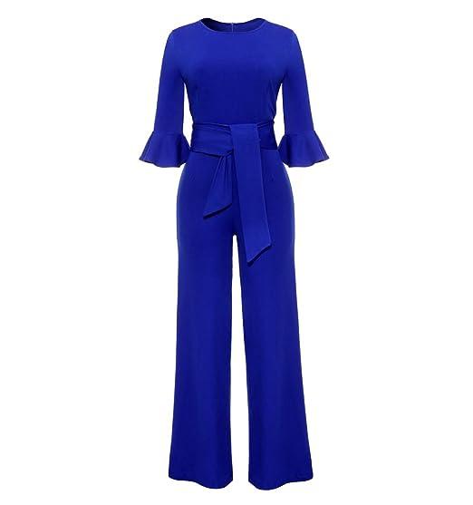 ZKOO Donna Tuta Elegante Pantaloni Lungo Aderente Partito Sexy Tuta Jumpsuit  con Cintura Abito Cerimonia  Amazon.it  Abbigliamento e38e35f52656