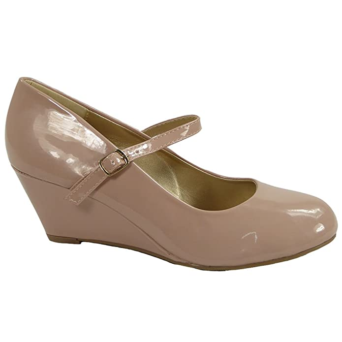 Womens Ladies Mary Jane Suede Low Heel Wedge Casual Work Posh Court Shoes  Size 3-8: Amazon.co.uk: Shoes & Bags