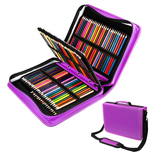 180 Slots PU leather Colored Pencil Case - Large Capacity Carrying Case for Prismacolor Watercolor Pencils, Crayola Colored Pencils, Marco Pens, Gel Pens, Lipsticks and Brushes by YOUSHARES (Purple)