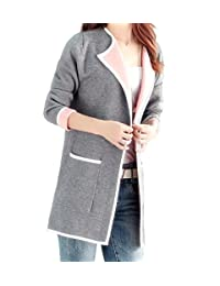 WSLCN Womens Long Knitted Open Cardigan Long Sleeve Coat Jacket Contrast Color