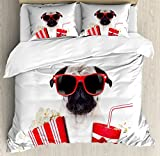 Pug Queen Size Duvet Cover Set by Ambesonne, Going to the Movies Pug Dog Popcorn Soft Drink Movie Star Glasses Animal Fun Image, Decorative 3 Piece Bedding Set with 2 Pillow Shams, Cream Red Black