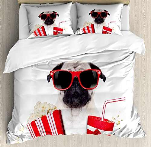 Pug Queen Size Duvet Cover Set by Ambesonne, Going to the Movies Pug Dog Popcorn Soft Drink Movie Star Glasses Animal Fun Image, Decorative 3 Piece Bedding Set with 2 Pillow Shams, Cream Red Black by Ambesonne