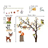 decalmile Woodland Wall Decals Animals Tree Owl Fox