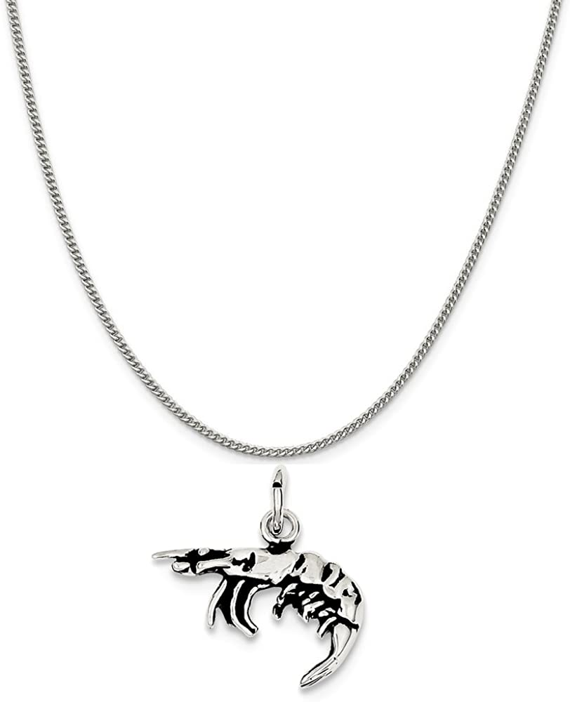 16-20 Mireval Sterling Silver Antiqued Shrimp Charm on a Sterling Silver Chain Necklace