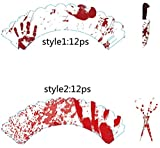 Efivs Arts 24PS Halloween cupcake wapper cake topper Bloody Knife Blood fingerprint Blood scissors for Halloween Party Cupcake Dish Decoration
