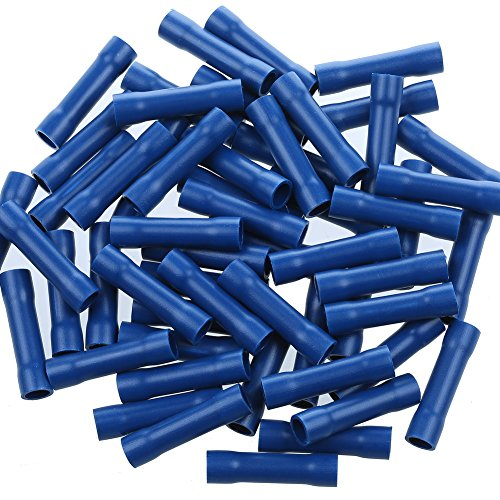 16 Gauge Bag Wire - AIRIC 16-14 Gauge Butt Splice Connectors, 100pcs Vinyl Insulated PVC Butt Splice Wire Cable Crimp Connectors Terminals Blue