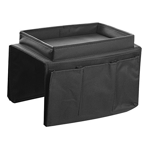 Price comparison product image ACTLATI Sofa TV Remote Control Handset Holder Organiser Caddy For Arm Rests With Cup Holder Tray - Fits Over Chairs, Sofas Armchairs With Wide Arm Pockets