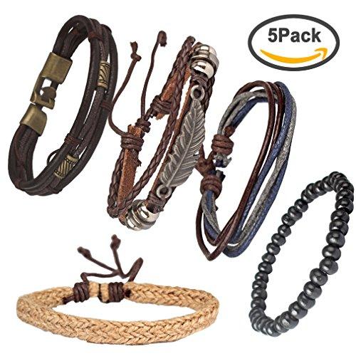 Casoty Mix Set of 5 Fashion Wrap Bracelets Wristband Bangle Cuff Bracelet (Turquoise Stone Stretch Band Watch)