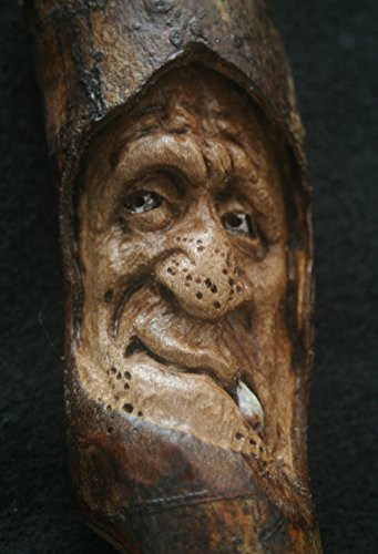 Woodcarving Wood Spirit Orc Troll Goblin Tree Face Spirit of the Woods Odd Weird Pagan Wiccan Sculpture Key Chain Pendant Talisman OOAK Unique Gift Ornament