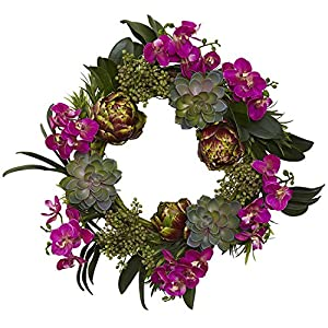 Nearly Natural 4989 Orchid Artichoke and Succulent Wreath, 20-Inch 14