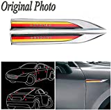CHAMPLED DE Flag x 2 Car Auto Truck Chrome Metal Decal Germany...