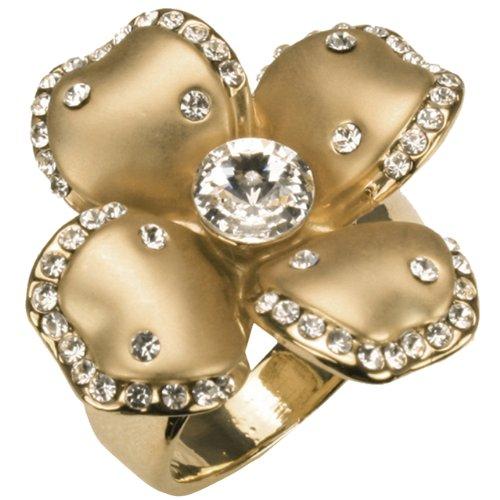 Dahlia Quatrefoil Flower Two-Tone Rhinestone Fashion Ring Size -