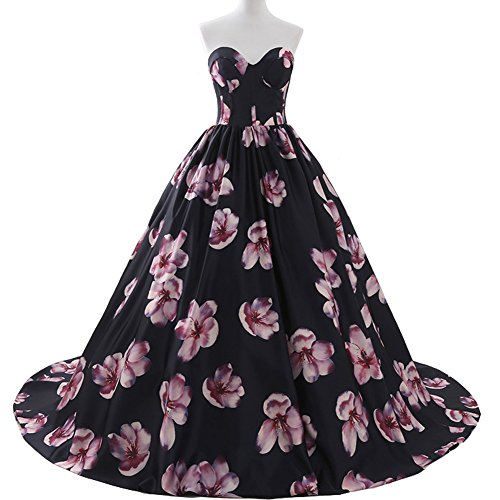 Printed Pink Floral Sweetheart Black Long Prom Wedding Dresses Plus Size US -