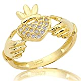 LOVEBLING 10K Yellow Gold Claddagh Heart Ring 19 Cubic Zirconia (Sizes 5-9)