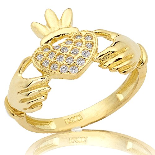 LOVEBLING 10K Yellow Gold Claddagh Heart Ring with 19 Cubic Zirconia (Available in Sizes 5, 5.5, 6,6.5, 7, 7.5, 8, 8.5, 9) (7.5)