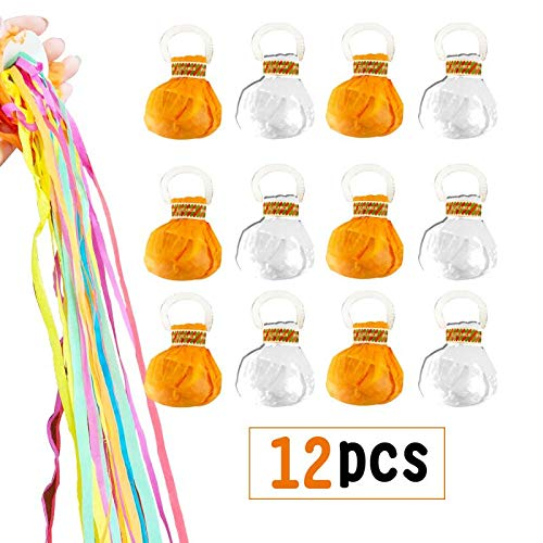 (12 Pieces Throw Streamers Throw Confetti Party Streamers Magic with Handle for Weeding, Birthday, Wedding Anniversary, Starting School Ceremony, Graduation Ceremony Party Favors Shows(Color at random) )