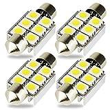 """Kashine C5W LED Bulb Canbus 5050 6SMD Dome Light 1.50"""" 36mm LED Festoon Error Free for European Car Interior License Plate Courtesy Lights 6411 6418 6000K White Pack Of 4"""