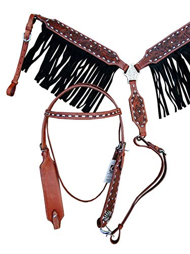 Western Headstall BREASTCOLLAR Silver BUCKSTITCH Rhinestone Studded Black Fringe Floral Tooled Leather Show Horse Bridle Set