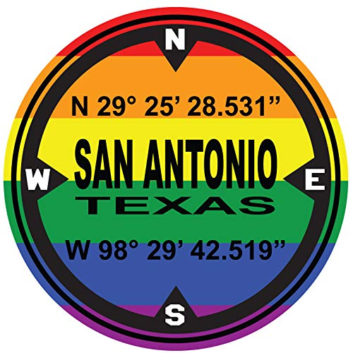D.M.S. Coordinates San Antonio Texas Gay Pride - 4 Pack Of 2 Inch Full Color For Hard Hats - ProudlyMade In The USA From Adhesive Vinyl (Hard Hat NOT included)