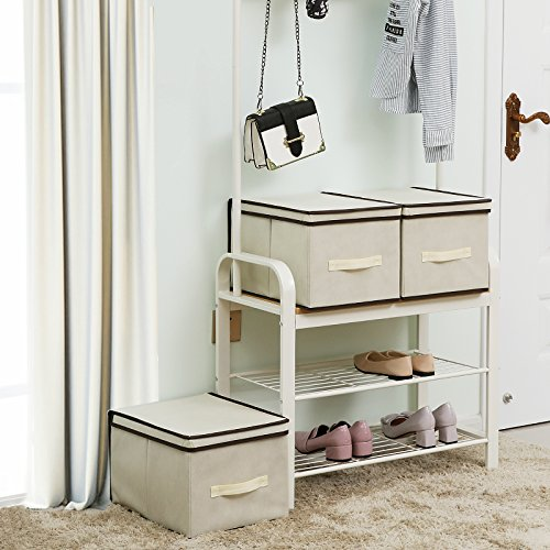 SONGMICS Set of 3 Large Storage Container with Lids Foldable Storage Box with Lids Beige URLB40M by SONGMICS (Image #1)