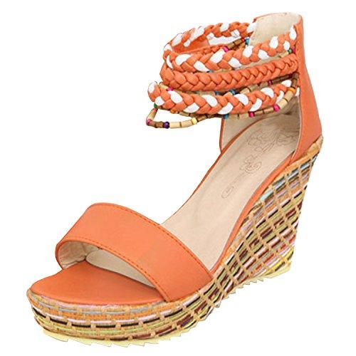 Azbro Mujer Zapatos Estilo Boho Puntera Abierta con Cuentas de Tacón Cuña Naranja