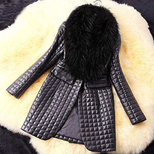 de Chaqueta Larga KaloryWee Negro Mujer Chaqueta para Sintética Piel Largo Larga Invierno de Abrigo de Piel Manga de qUdxdtAfw