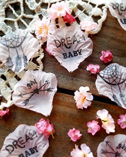 Boho Tribal Baby Shower Table Decorations Centerpiece for Girls Pink Flower Dream Catcher Confetti (Baptism Centerpiece Table)