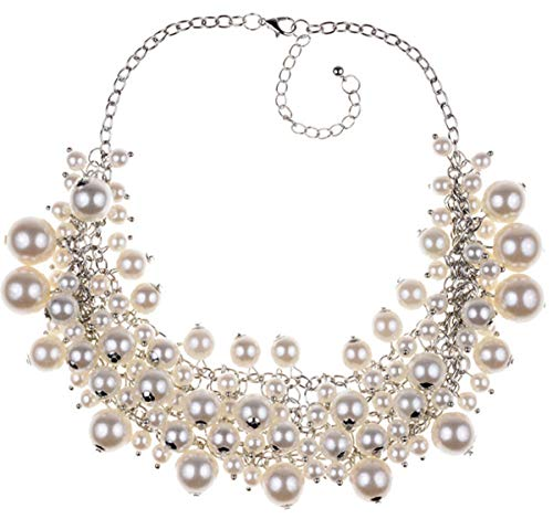 Shineland Elegant Luxury Multilayer White Pearl Bead Cluster Collar Bib ChokerNecklace for Women