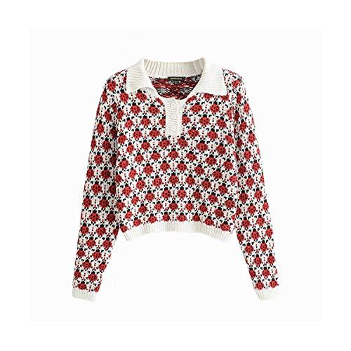 Vintage Pullover Ladies Moda Sikesong Collar Coccinella Maglia Allentato l Donna Manica Casual Lunga S Tirare Bavero Maglioni Modello A dOxOw68