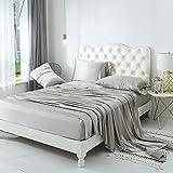 ZIMASILK 4 Pcs 100% Mulberry Silk Bed Sheet Set,All Side 19 Momme Silk (Queen, Silver Grey)