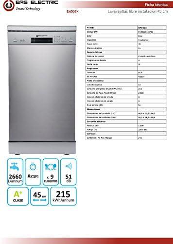 Lavavajillas Inox Eas electric EMD09X 45cm 4 programas A+ 45cm ...