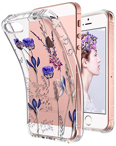 ULAK Floral iPhone SE Case Clear, iPhone 5s case, iPhone 5 case, Clear Slim Fit 5/5S/SE Case with Transparent Flexible Soft TPU Bumper Shock-Absorption Cover -Retail Packaging - Romantic Lavender]()