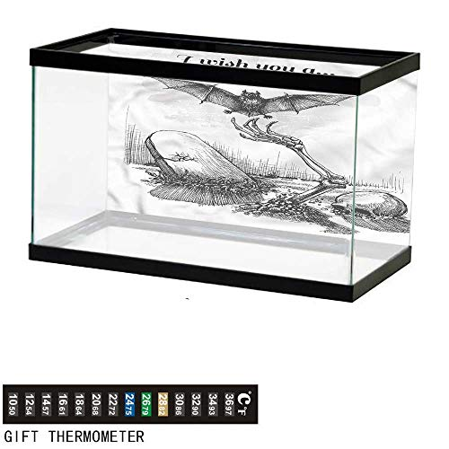 bybyhome Fish Tank Backdrop Halloween,Skull Zombie,Aquarium Background,24