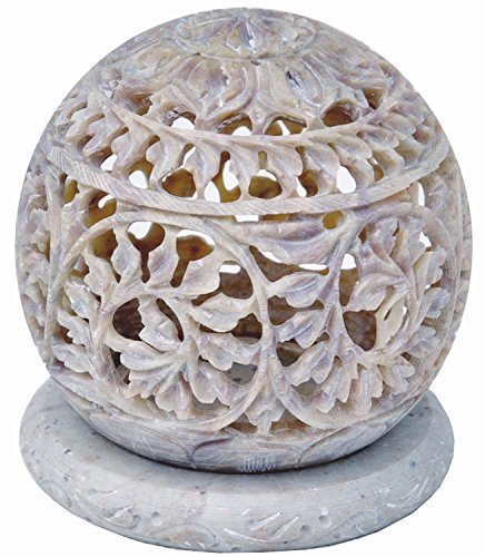 d Tealight Holder Sphere Shaped Made From Soapstone With Intricate Tendril Openwork Floral Decorative Lantern Decorate Your Home With This Amazing Tea Light Holder ()