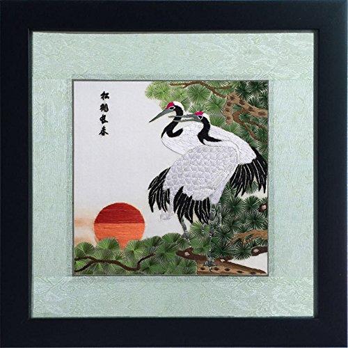 Silk Art 100% Handmade Embroidery Framed Pine Trees and Blessing Cranes Painting Gift Oriental Asian Wall Art D¨¦cor Artwork SilkArt025