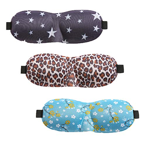 Sleep Mask for Woman & Man, 3D Countered Sleeping Eye Mask, Innovative Light Blocking Design Blindfold (w/Nose Wing) - Stars/Leopard/Floral