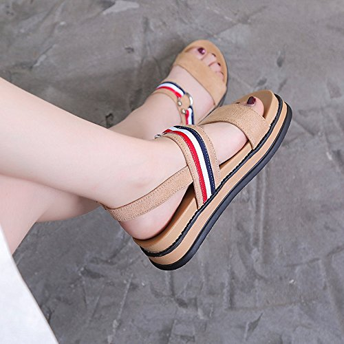 YMFIE Simple Moda Verano Sandalias de antigüedades Lady'S Confort Antideslizante Calzado de Playa. b