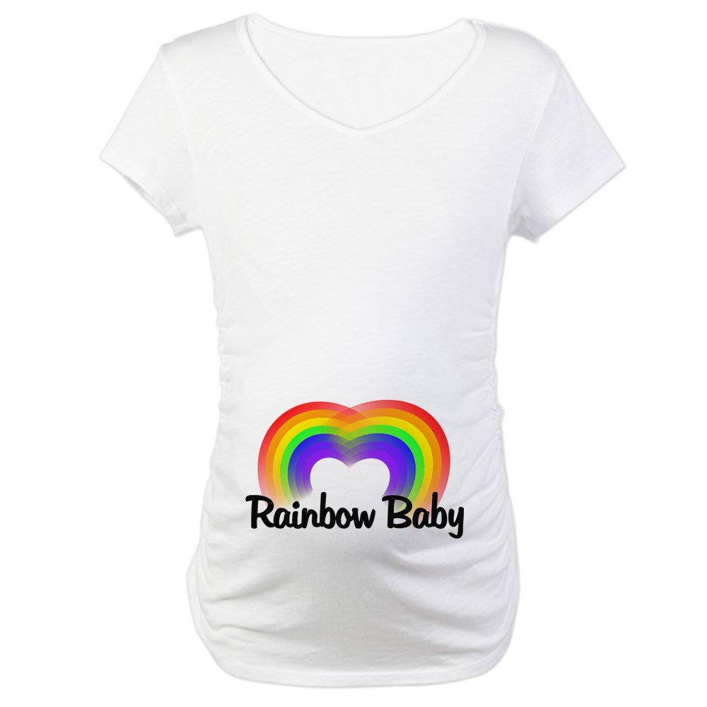 abacc3650 CafePress Rainbow Baby Cotton Maternity T-Shirt, Cute & Funny Pregnancy Tee