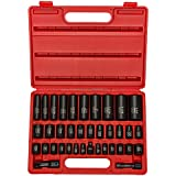 "Neiko 02443A  Complete 3/8"" and 1/2"" Drive Impact Socket Set, CR-V Steel | SAE & Metric | Deep & Shallow | 38-Piece Set"