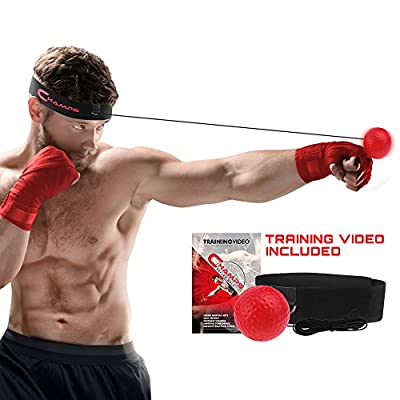 Champs Boxing Reflex Ball Fight Training Speed With Exclusive Training Video. Learn Basic Martial Arts Skills, Lose Weight, Improve Reaction Time and Speed, Fitness, Confidence and Cardio