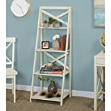 Simple Living Antique White 4-tiered X-Shelf Ladder Case - X shelf