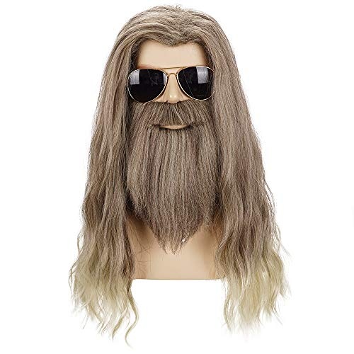Too Fat For Halloween Costume (Morvally Adult Men Long Curly Golden Brown Beard Wig for Cosplay Halloween Anime Costume)