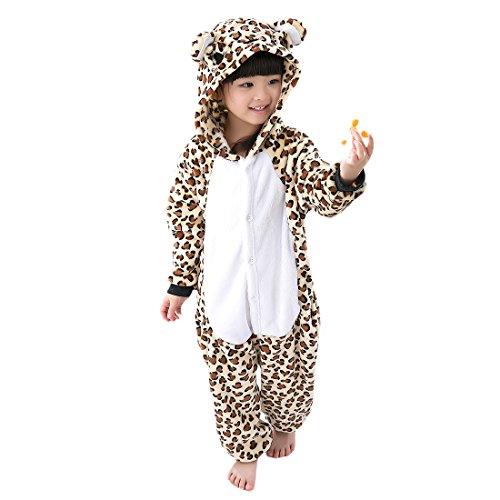 Animal Hoodie Child Leopard (DarkCom Unisex Kids Kigurumi Cosplay Pajamas Homewear Leopard Onesies Costume)