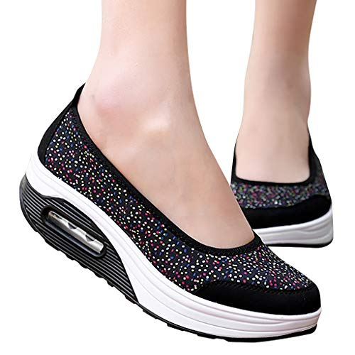 (NEARTIMEWomen's Shoes-Ladies Thick-Bottomed Light Slope with Shallow Mouth Shoes Lazy Shoes Casual Rocking Shoes)