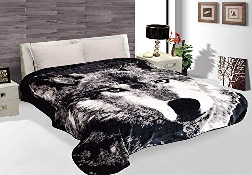 Wolf Throw Animal Blanket,3.5 Pounds,ultra Plush Korean Comfy, Safari Mink, - Center City Fort Worth