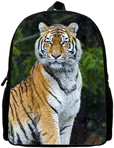 LITI 3D Kinderrucksack für Grundschüler Tagesrucksack Tier Tiger Muster Polyester Schultaschen 17,5 * 5,5 * 11,8 Zoll