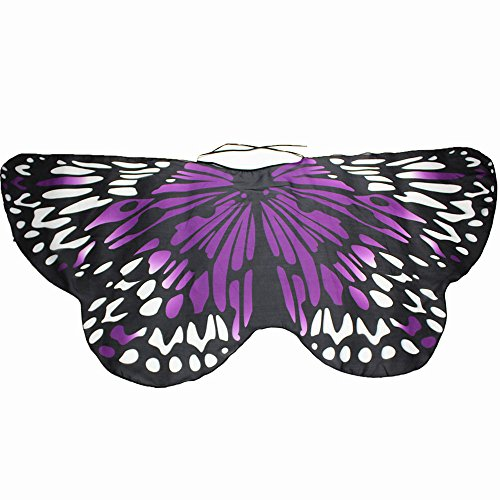 iDWZA Parent-Child Bohemian Butterfly Wing Shawl Pashmina Party Costume Accessory (14768cm,Purple )